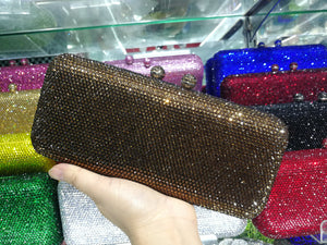 Yollew Green Crystal Party Wedding Bridal Clutch Bags Cheaper hot crystal Evening Bags Female Chain Shoulder Bags