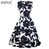 ZAFUL Floral Print High Waist Vintage Dress Women 2018 Summer Pin Up Dresses Vestidos Female Robe Retro Hurburn 1950s Rockabilly - thefashionique
