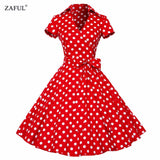 ZAFUL Plus Size S-4XL Women Retro Dress 50s 60s Vintage Rockabilly Swing feminino vestidos V neck short sleeves Dot print dress - thefashionique