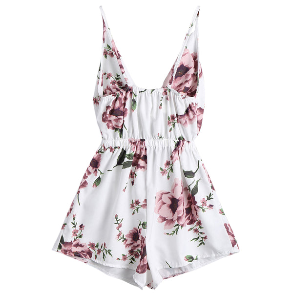1f62f4350cf ZAFUL Sexy Women Playsuits Rompers Bohemian Floral Print Plunge Spaghetti  Strap Rompers Jumpsuits Summer Women Beach Playsuits