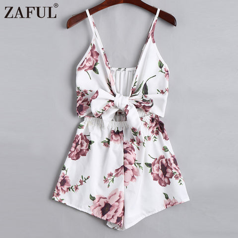 ZAFUL Sexy Women Playsuits Rompers Bohemian Floral Print Plunge Spaghetti Strap Rompers Jumpsuits Summer Women Beach Playsuits