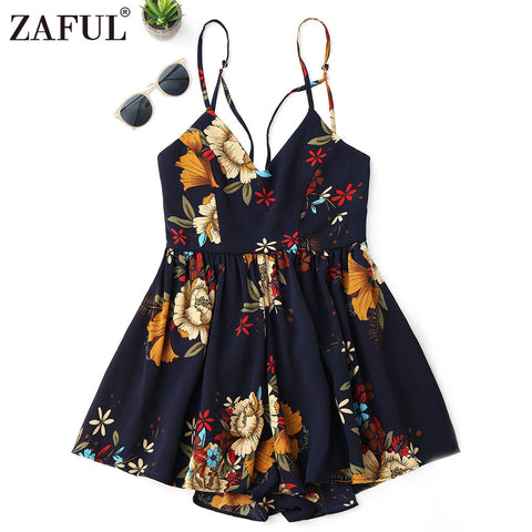 ZAFUL Women Boho Sexy Playsuit Summer Floral Print Sexy Criss Cross Floral Beach Wear Romper women bohemian sexy short Jumpsuits