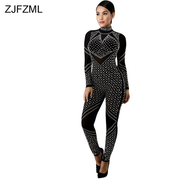 ZJFZML Back Zipper Sexy Skinny Catsuit Women Shiny Rhinestones Long Sleeve Club Jumpsuit Vintage Turtleneck See Through Rompers - thefashionique