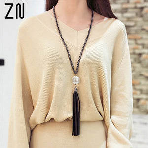 ZN 2018 NEW  Arrival Tassel Pendant Sweater Chain Long Beads Necklace For Women Girls Fashion Jewelry Gift - thefashionique