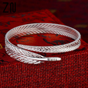 ZN Vintage Creative Angel Feather Bangle Adjustable Cuff Bracelet For Women Jewelry Gifts Hot Sale - thefashionique