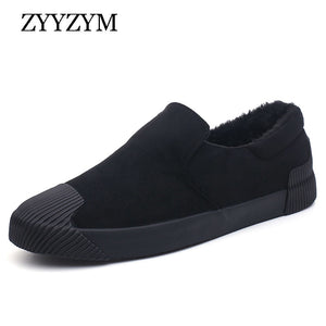 ZYYZYM Men Vulcanized Shoes Slip-On Autumn Winter Style Plush Keep Warm Comfortable Top Fashion Slacker Cotton Shoes - thefashionique