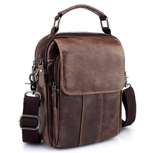 ZZNICK 2018 New Men Genuine Leather Messenger Bag Men Bag Wax Leather Crossbody Shoulder Bag Cowhide Men Business Bags Briefcase - thefashionique