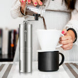 Zanmini Silver Coffee Grinder Mini Stainless Steel Hand Manual Handmade Coffee Bean Burr Grinder Mill Kitchen Tool Crocus Grinde - thefashionique