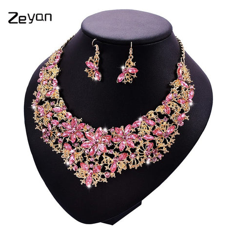 Zeyan Bridal Jewelry Sets & More Wedding Necklace Earring For Brides Fashion Party Accessories Colorful Decoration Gift ZYTZ217 - thefashionique