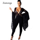 Ziamonga Long Jumpsuits Playsuits Flare Sleeve Deep V Sexy Floral Lace Night Club Rompers Overalls For Women Winter Jumpsuit - thefashionique