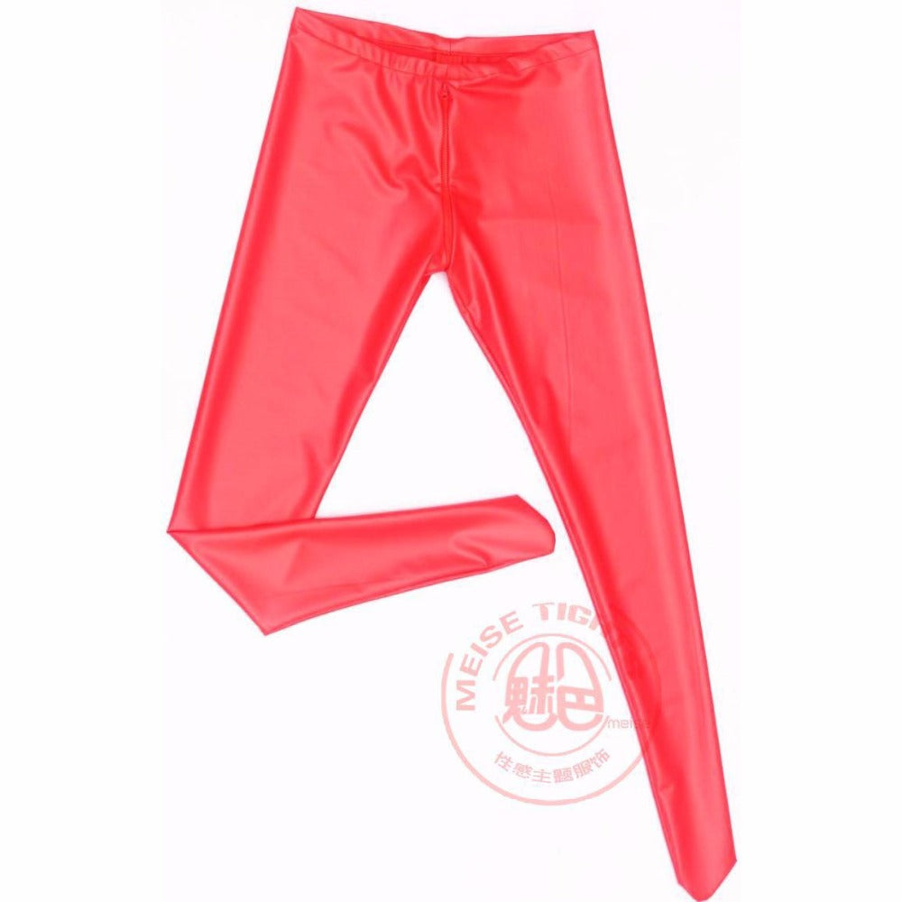 Zipper Open Crotch Latex Pantyhose Women Low Waist Sexy Leggings Ladies Bodycon Solid Capris Night Club Wear Elastic Pencil Pant - thefashionique
