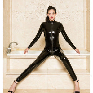 Zipper Open Crotch Long Sleeve Bodysuit Sexy Black Bodysuits Leather PVC Catsuit Bodystocking Sexy Hot Erotic One Piece Overalls - thefashionique