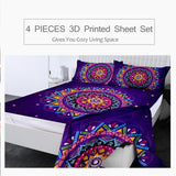 Zodiac Mandala by Lionhearts Fitted Sheet Queen Purple Bed Sheet Set Bohemian Flat Sheet 4-Piece Colorful Flower Mattress Cover