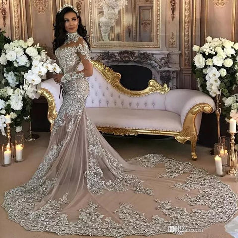 Retro Long Sleeves Mermaid Wedding Dresses 2019 High Neck Crystal Beads Appliques Trumpet Long Train Arabic Illusion Bridal Gowns Customized - thefashionique
