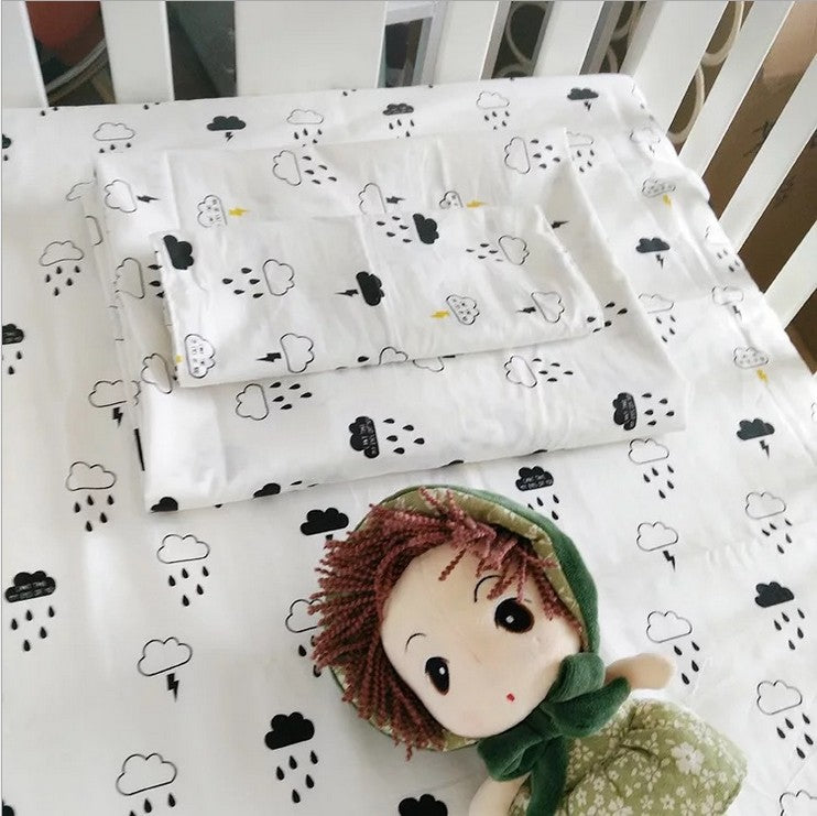 adamant ant 3 Pcs Cotton Crib Bed Linen Kit Cartoon Baby Bedding Set Includes Pillowcase Bed Sheet Duvet Cover Without Filler - thefashionique