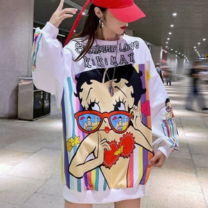 autumn winter personality fashion cartoon printed sweatshirt loose and thin cover meat