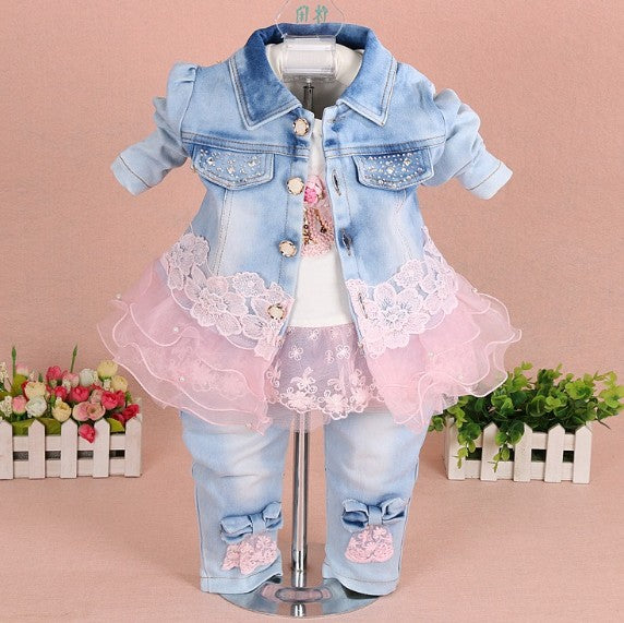 baby girl clothes spring autumn denim newborn girl clothing set 3pcs baby clothes girl birthday kids baby clothing sets - thefashionique
