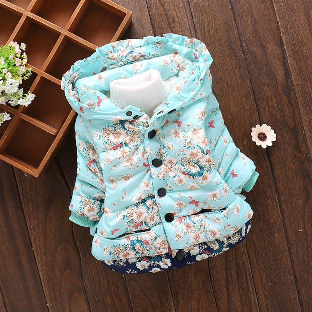 Baby Girl Winter Warm Jacket Toddler Camouflage Print Doll Hooded Windproof Coat