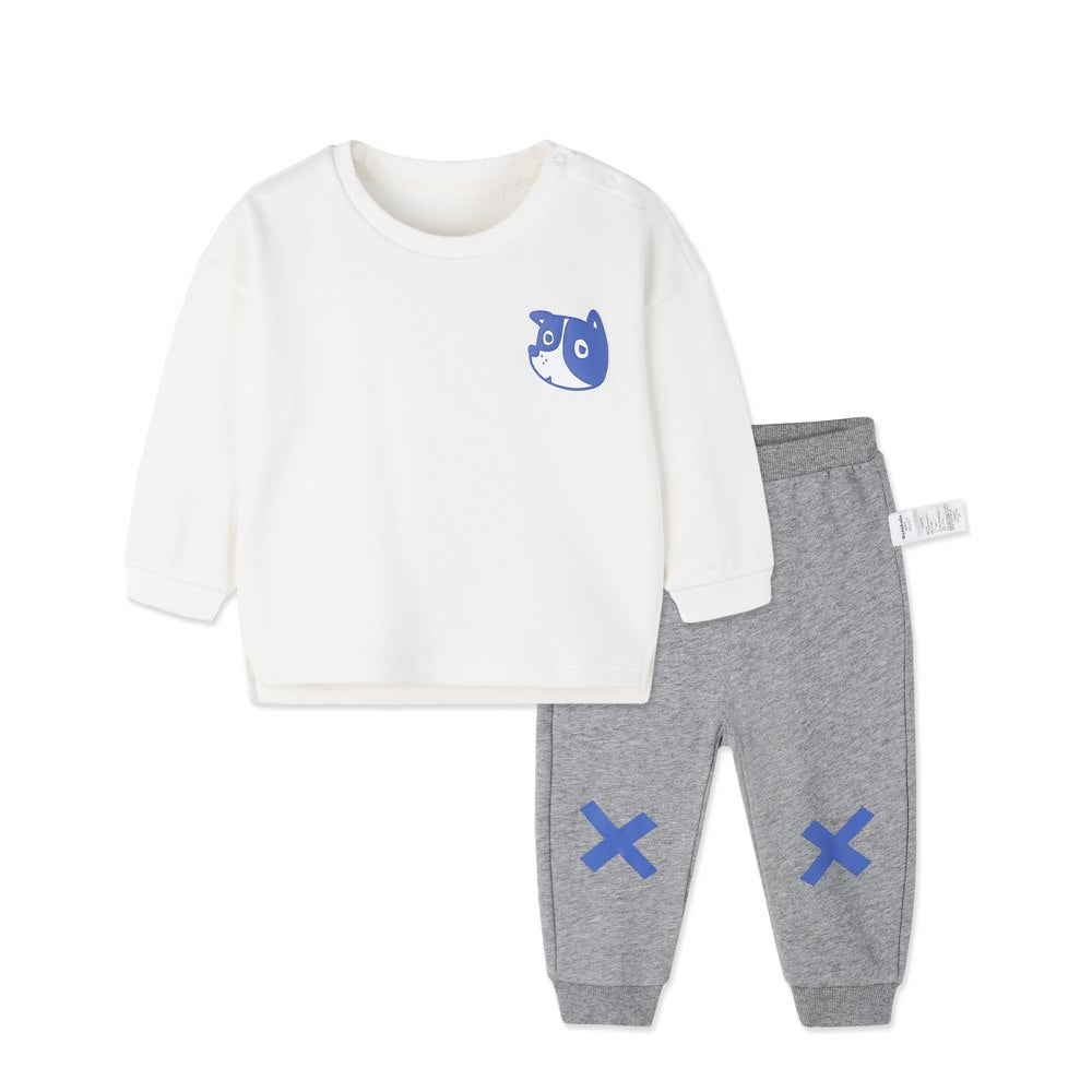 balabala Baby Boys Suit Long-sleeved Cotton Two-piece Baby Clothes Pants Autumn Clothing Cute Letter Childlike Suits For Newborn - thefashionique