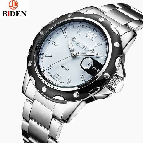 biden watches men luxury brand business quartz watch for men steel wristwatches dive 30m casual clock men relogio masculino
