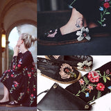 black dress fashion style loose floral embroidered long sleeve O-neck Spring Summer 2019 elegant women dresses vestidos clothing - thefashionique