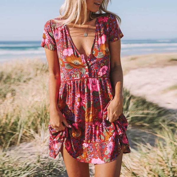 boho dress daisy red foral print summer dress V-neck button front sleeve rayon mini women dress bohemian chic vestidos 2018 NEW - thefashionique
