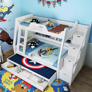 boy and girl bed high and low bunk bed  adult multifunctional bed
