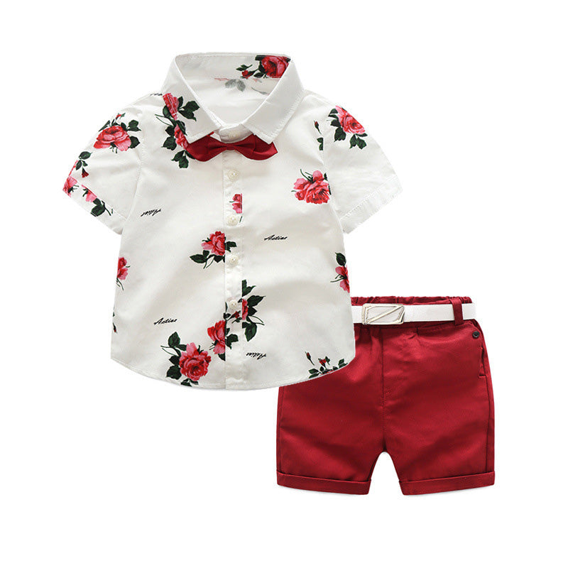 boys clothing sets summer gentleman suits short sleeve shirt + shorts + belt 3pcs kids clothes children set for 2-7 years - thefashionique
