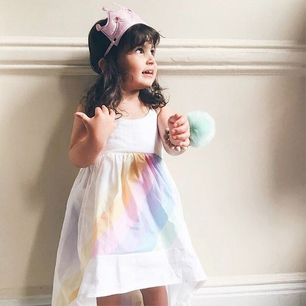 chifuna Girls Princess Dress Rainbow Printed Sling Dress Children's  Kids Clothes Fashion Summer Toddler Girls Party Dress - thefashionique