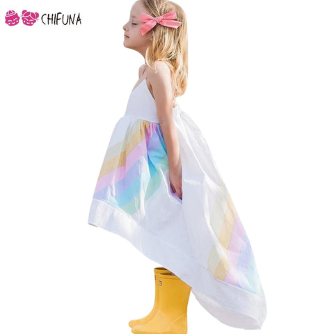 chifuna Girls Princess Dress Rainbow Printed Sling Dress Children's  Kids Clothes Fashion Summer Toddler Girls Party Dress