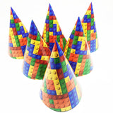 children birthday party supplies lego blocks themed paper hats with string 6pcs printed caps baby shower decorations - thefashionique