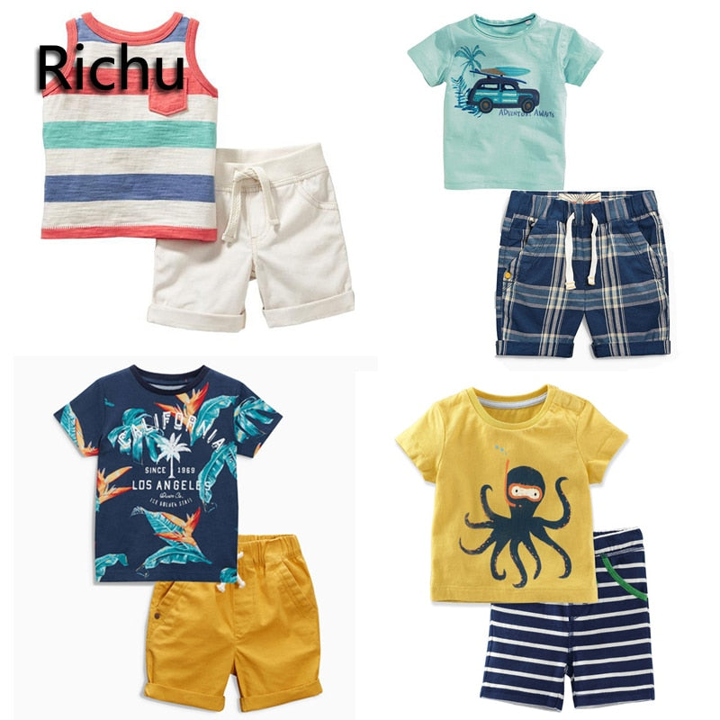 children boy set clothes summer tracksuit thanksgiving outfit toddler boys clothing suits sport christmas 2pcs casual sale 3 4yr - thefashionique