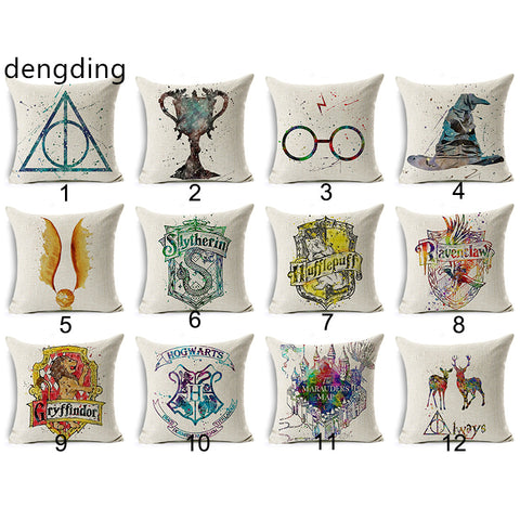 dengding Harry Potter  Cotton Linen Goblet of Fire The Deathly Hallows Home Decorative Pillow Cover
