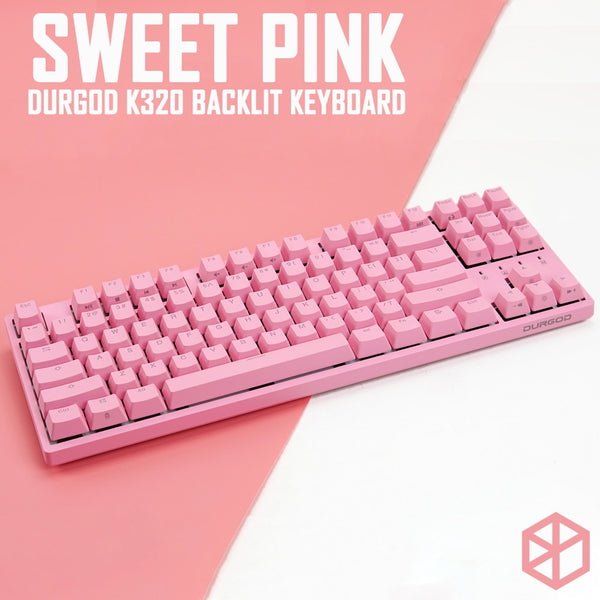 durgod 87 honey sweet pink  k320 backlit mechanical keyboard cherry mx switches abs doubleshot keycaps brown blue red switch