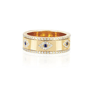 engraved cz evil eye gold wide engagement band rings for lady women party gift finger jewelry classic antique ring - thefashionique