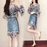 fashion 2 pieces dress set women 2018 summer new design women female lady chiffon blouse and denim sexy skirts clothing sets - thefashionique