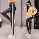 fashion High Waist winter Trousers women solid black PU Leather Pants long Trousers Female Stretch Pencil Pants Feminine 1251 40 - thefashionique