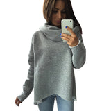 fashion Scarf collar irregular long sleeve hoodies solid sweatshirt women 2017 S-XL Casual Style Autumn Sweatshirts - thefashionique