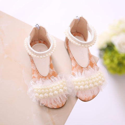 fashion cute children Pearl flower sandals 2019 summer new Korean version girls princess dress shoes soft soled dance sandals
