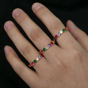 fashion new arrived engagement band ring for women multi color 4mm cz eternity band finger rainbow rings for anniversary - thefashionique