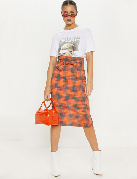 fashionable new spring orange plaid skirts womens knee length split skirt girl lady natural waist plaid skirt with belt 81835 - thefashionique