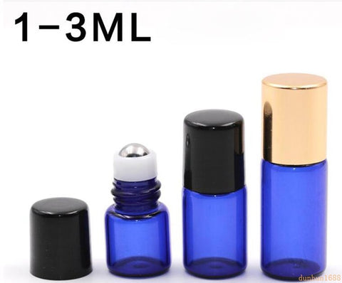 free shipping 1ml 2ml 3ml Cobalt Blue Glass Micro Mini Roll on Glass Bottles with Metal Roller Balls for fragrance perfume#48 - thefashionique