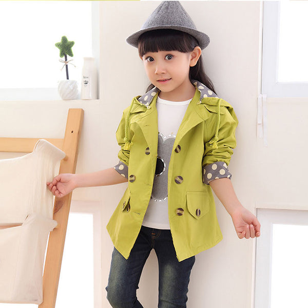 girls jacket children's clothing big kids spring & autumn child medium-long double breasted baby outerwear girl trench coat - thefashionique