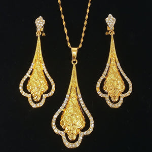 gold necklace set drop long earrings sexy jewelry for women wedding gift young lady night club accessories copper