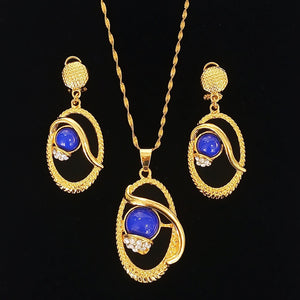 gold necklace set with earrings high quality long drop earrings for women royal blue stone jewelry sets sexy girl wedding gift