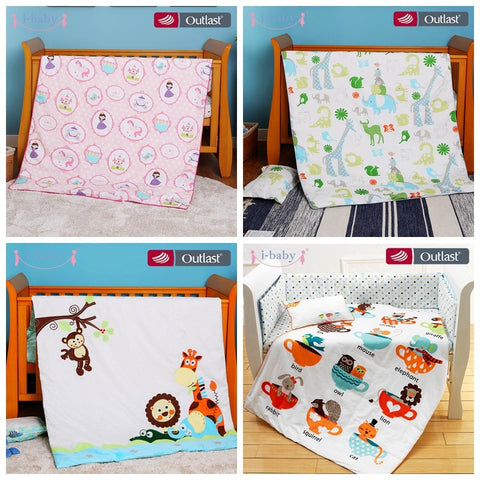 i-baby Baby Bedding Set 4pcs Crib Fitted Sheets Set Baby Duvet Cover Newborn 100% Cotton Printed Sheets Pillow Cot Sets in Crib - thefashionique