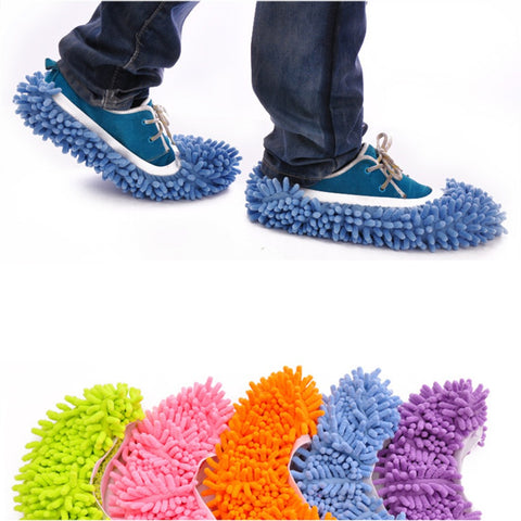 iTECHOR House Women's Men's Novelty Slippers Style Mops Sock Floor ground Cleaning tools Microfiber Bedroom Accessories supplies