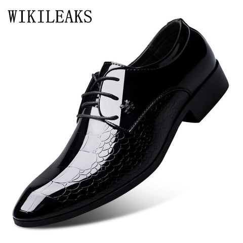 italian oxford shoes for men luxury brand mens patent leather black shoes mens pointed toe dress shoes 2018 classic derbies man - thefashionique