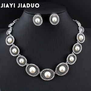 jiayijiaduo 2017 Bridal Imitation pearl jewelry sets for women wedding  for brides wedding accessories Silver color necklace set - thefashionique