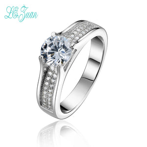 l&zuan Fine Jewelry S925 Sterling Silver Trendy Rings For Women White Gold-Color Cubic Zirconia Wedding Engagement Anillos Mujer - thefashionique
